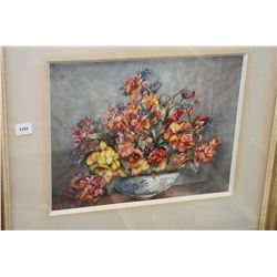 """Framed original watercolour still life of a floral bowl signed by artist L Young 10 3/4"""" x 13 1/2"""""""