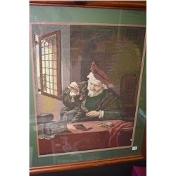 Two framed needle works including a child in a parlour chair and a gentleman weighing gold