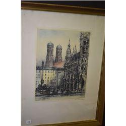 Vintage framed European street scene pencil signed by artist