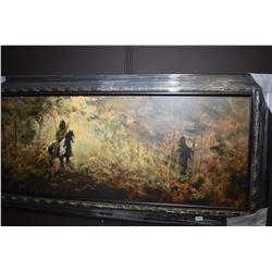 Framed canvas transfer print of Indians on horseback