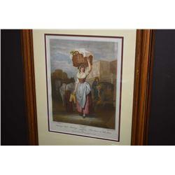 """Framed vintage Cries of London etching """"Strawberries, Scarlet, Strawberries"""""""