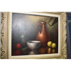 "Vintage framed oil on canvas still-life signed H. Nak, 20"" X 24"""