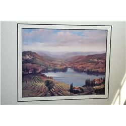 Gilt framed print of a European mountain scene