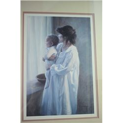Oak framed print of a mother and child