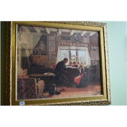 Gilt framed print of a gentleman reading to a young girl