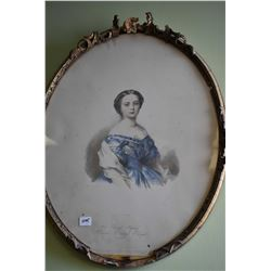 Antique oval framed prints of Victoria and Albert
