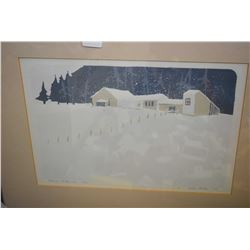 Framed limited edition block print Snow Flurries pencil signed by artist E.D Miller '82, 11/20
