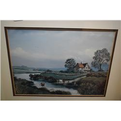 Framed print of an 18th century rural scene