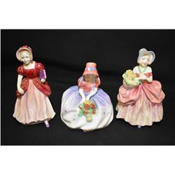 Two Royal Doulton figurines including Monica HN1467, Cissie HN1809 plus a Paragon Miss Pamela