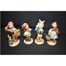 Four Hummel/Goebel figurines including Bashful, Visiting The Invalid, Boy w/ Toothache and The Artis