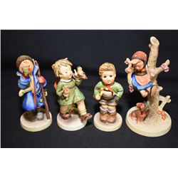 Four Hummel/Goebel figurines including Trumpet Boy, Gay Adventure, Out of Danger, etc