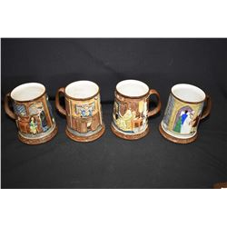 Four Beswick Collectors International tankards sans boxes. Note one has small chip on rim