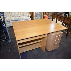Large oak computer desk with non-matching three drawer companion with file drawer