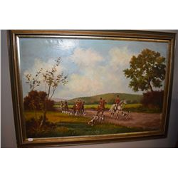 "Framed oil on canvas painting of a hunt scene signed by artist P. Majon, 24"" X 36"""