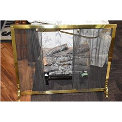 Vintage electric simulated log fire and fireplace screen