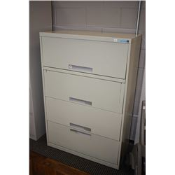 Four drawer metal lateral filing cabinet