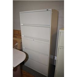 Five drawer metal lateral filing cabinet