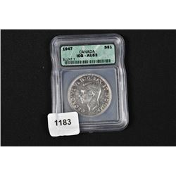 1947 Blunt 7 Canadian silver dollar in graded case ICG-AU53