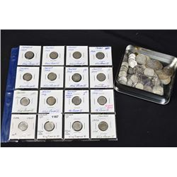 Large selection of Canadian dimes most appear 1937-1967, selection of Canadian quarters most appear