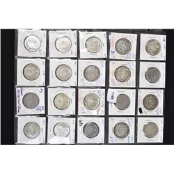 Twenty Canadian silver dollars ranging in dates approximately 1958 to 1967 and one 1969