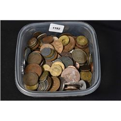 Small Tupperware container large selection of foreign coins