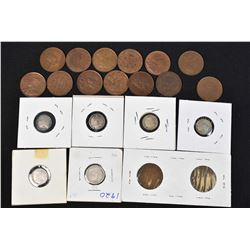 Selection of vintage Canadian coins including approximately fifteen large pennies, five small dimes
