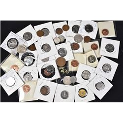 Selection of Canadian coins including pennies, dimes, quarters, nickels