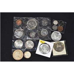 Selection of Canadian coins including a 1966 decimal set, four 1967 silver dollars, etc