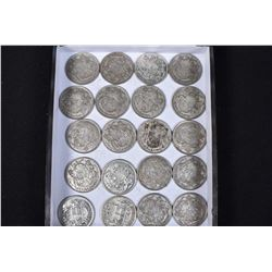 Twenty Canadian silver half dollars ranging from 1942 to 1958