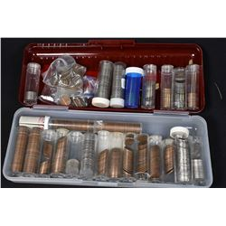 Lidded plastic container with a large selection of coins placed in plastic tubes including 1946 nick