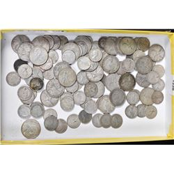 Large selection of Canadian dimes including 40s and 50s and Canadian quarters including 1930s throug