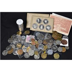 Large selection of Canadian coins and tokens including 1970s dollars, 1977 Woodward's The Indian Her