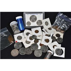 Selection of mostly American coins including pill vial of early dimes, half full vial of Indian Head