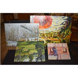 A selection of original acrylic on board paintings by artist Crane Thomas, consigned by the family,