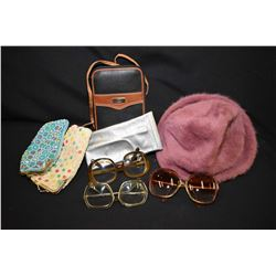 Tray lot fashion accessories including beaded glasses cases, Anne Klein sunglasses, Christian Dior g