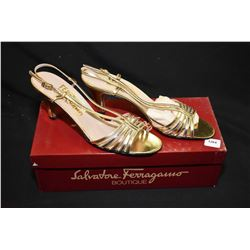 Pair of Salvatore Ferragamo as new gold sandals with box, size 8