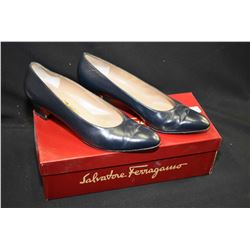 Pair of black leather Salvatore Ferragamo size 8, light wear to underside, with box