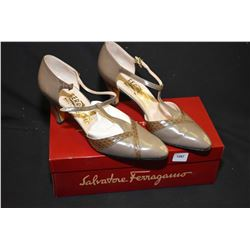 Pair of Salvatore Ferragamo Italian leather t-strap high heel shoes, size 8, light wear with box