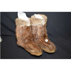 Pair of vintage fur mukluks