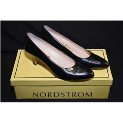Pair of black Salvatore Ferragamo Italian leather pumps, size 8