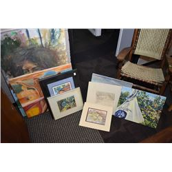 Selection of unframed and framed artwork including assorted themes and artists, from the Crane Thoma