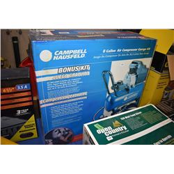 New in box Campbell Hausfield 8 gallon air compressor/garage kit