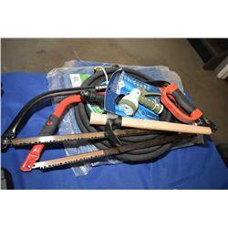 Brand new garden hose, two tarp, garden pick etc.