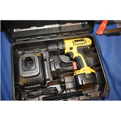 """Lightly used Dewalt DC 720, 3/8"""" cordless driver with 2 batteries, charger and fitted case"""