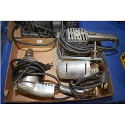 Vintage power tools including drill, sander and jigsaw