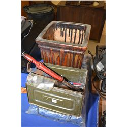 New blue tarp, ceramic plant pot and a metal ammo box with assorted hand tools