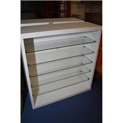 Two Ikea brand adjustable shelf displays