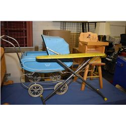 Vintage maple doll's cradle, maple high chair, push pram and ironing board