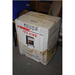 New in box albeit weathered eFlame electric stove