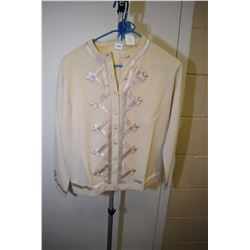 Vintage cashmere and wool sweater with ribbon decoration